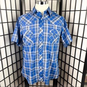 Wrangler Pearl Snap Western Plaid S/S Shirt